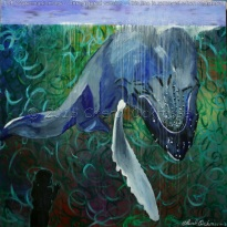 "Untitled (Whale) Captivity Series #010 $900.00 Height 36"", Width 36"", Depth 1.5"" Acrylic on gallery wrapped canvas. Image wraps around the edge. Wired for hanging. Sold unframed"