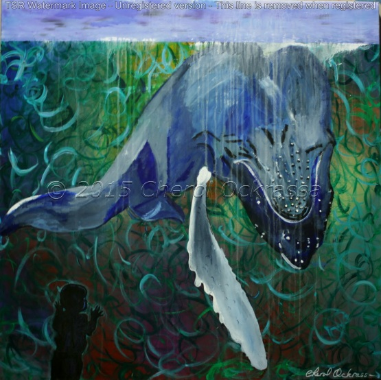 """Untitled (Whale) Captivity Series #010 $900.00 Height 36"""", Width 36"""", Depth 1.5"""" Acrylic on gallery wrapped canvas. Image wraps around the edge. Wired for hanging. Sold unframed"""