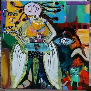 """Don't I Look Pretty! $900.00 Height 36"""", Width 36"""", Depth 1.5"""" Acrylic on gallery wrapped canvas."""