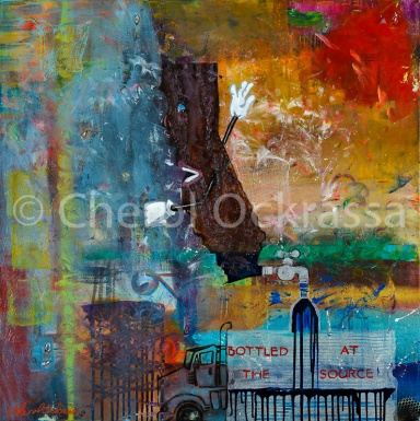 """Bottled At The Source $900.00 Height 36"""", Width 36"""", Depth 1.5"""" Acrylic on gallery wrapped canvas."""