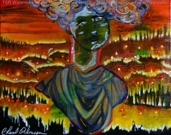 California Burning $275.00 Height 16″, Width 20″, Depth 1/2″ Acrylic on gallery wrapped canvas.
