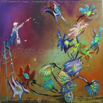 """Tending To Details $700.00 Height 30"""", Width 30"""", Depth 3/4"""" Acrylic on gallery wrapped canvas."""