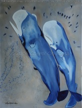 """Untitled (Sperm Whales) Captivity Series #011 $875.00 Height 40"""", Width 30"""", Depth 1 1/2"""" Acrylic on gallery wrapped canvas. Image wraps around the edge. Wired for hanging. Sold unframed"""