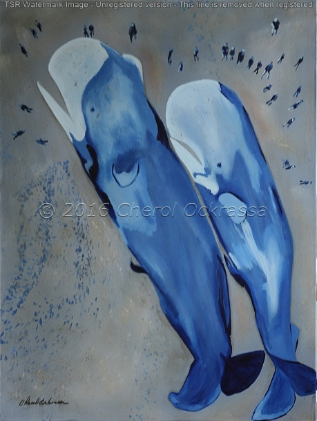 "Untitled (Sperm Whales) Captivity Series #011 $875.00 Height 40"", Width 30"", Depth 1 1/2"" Acrylic on gallery wrapped canvas. Image wraps around the edge. Wired for hanging. Sold unframed"