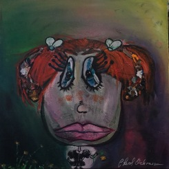 Fallopiana Really Likes Her Flower $425.00 Height 30″, Width 30″, Depth 3/4″ Acrylic on gallery wrapped canvas.