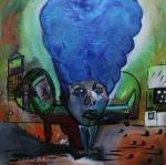 """Amelia Hairart Felt Blue, 36""""x36"""", $750.00"""
