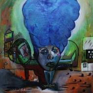 "Amelia Hairart Felt Blue $900.00 Height 36"", Width 36"", Depth 1.5"" Acrylic on gallery wrapped canvas."
