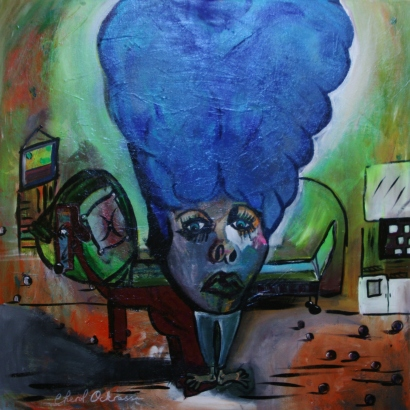 "Amelia Hairart Felt Blue $900.00 Height 36"", Width 36"", Depth 1.5"" Acrylic on gallery wrapped canvas."