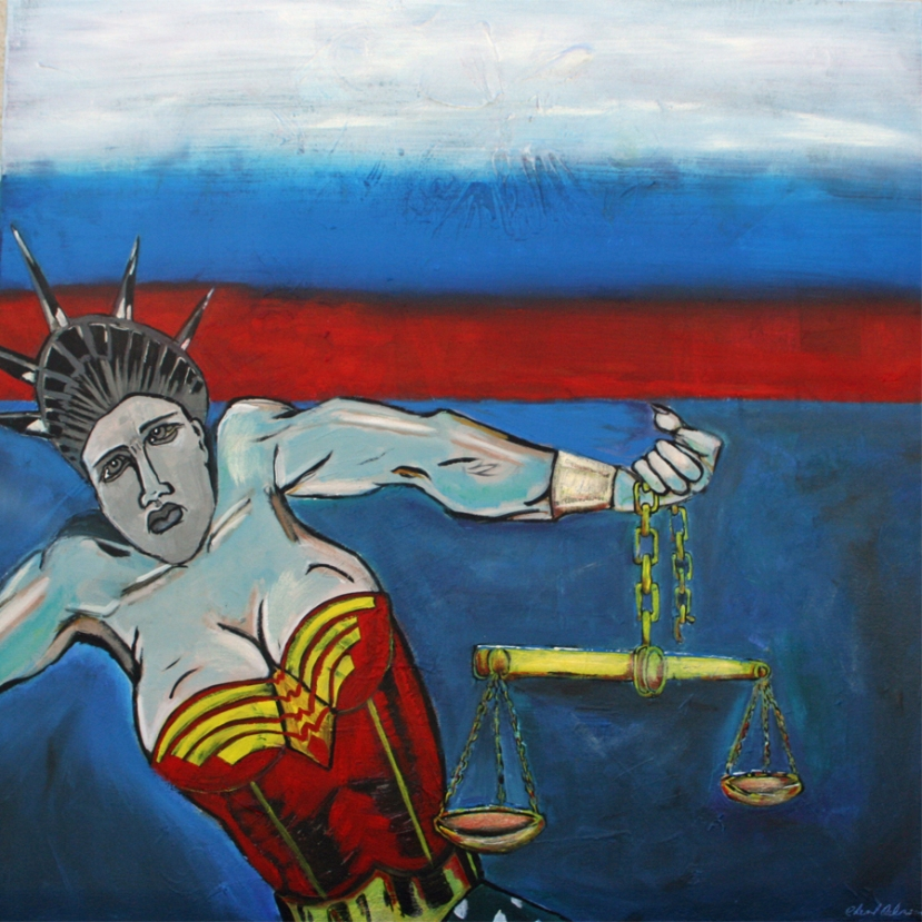 """Persistence"" Acrylic on Canvas Image wraps around edge 30""x30""x75"" $900.00"