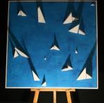"Paper Boats, 49""x49"", $2,000"