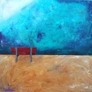 """Red Bench"" Acrylic on Canvas 36""x36""x1.5"" Image wraps around edges $900.00"