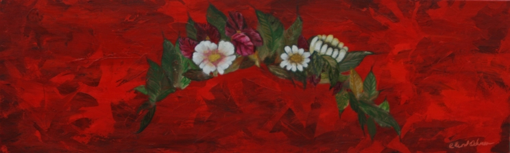 """""""Her Flowers"""" Acrylic on Canvas 12″x36″x1.5″ Black with red overtones on edges $300.00"""