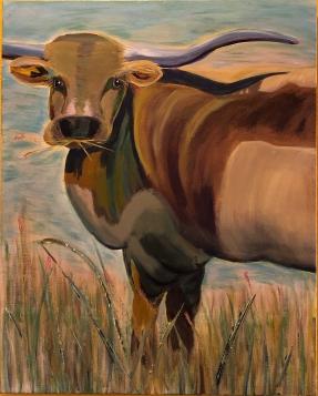 """Hug A Bull, 30""""x24"""", $400.00"""